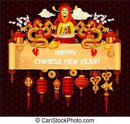 chinees, groet, boekrol, jaar, nieuw, perkament, kaart