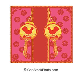 chinees, haan, ontwerp, jaar, nieuw, viering