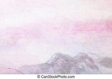 chinees, landscape), (mountain, abstract, papier, schilderij