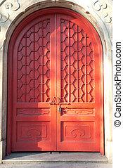 chinees, oud, architectuur, deur