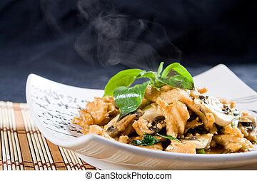 chinees, stijl, chicken, roert-frituur