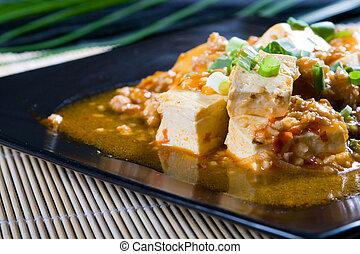 chinees, stijl, tofu