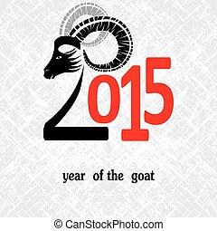 chinees, symbool, illustratie, chêvre, vector, jaar, 2015, beeld, design.