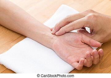 chinees, therapie, voor, diagnostiseren, pols, van, patiënt