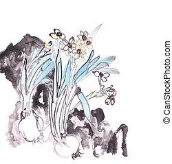 chinees, traditionele , wassen, daffodils, inkt verven