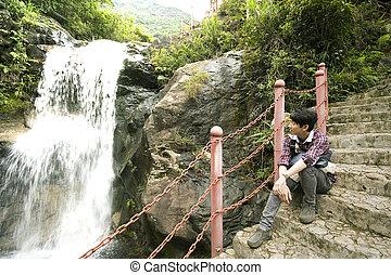 chinees, tree, zittende , het kijken, bos, watervallen, man