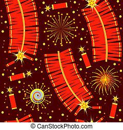 chinees, vuurwerk, pattern.color, seamless, illustratie,...