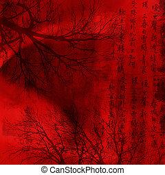 chineese, 红的背景, 带, 签署