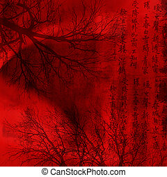 chineese, arrière-plan rouge, signes