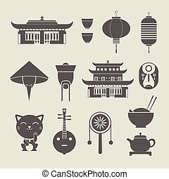 chineese travel icons - Vector set of stylized chinese...