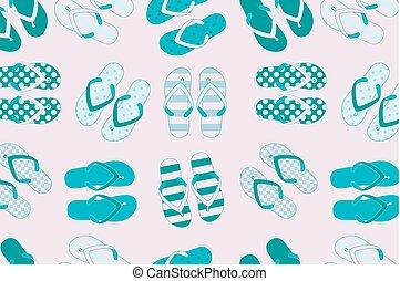 chinelos, praia, coloridos, fundo, seamless