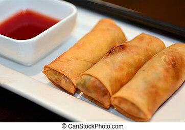 Chines food - Egg rolls - Chines food, Egg rolls served on a...