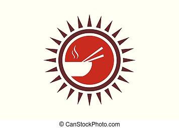 chinese の食物, 抽象的, ロゴ, ブランド, アイコン