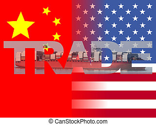 Chinese American flags with trade text illustration