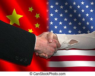 Chinese American handshake