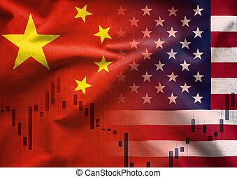 Chinese American trade war concept with a composite image of the two national flags overlaid over a business chart