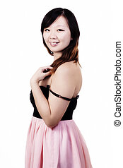 Chinese American Woman In Dress Against White Background