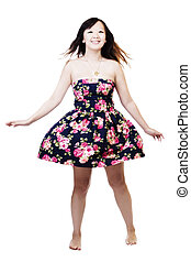 Chinese American Woman In Floral Dress On White Background
