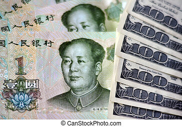 Chinese and American Money - One Chinese Yuan Bills isolated...