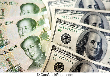 Chinese and American Money - One Hundred American Dollar ...