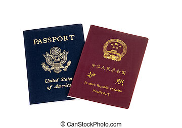 Chinese and American passports - Passports from 2 countries ...