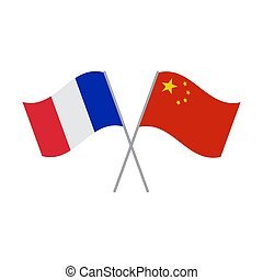 Chinese and French flags vector isolated on white background