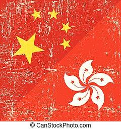 Chinese and hongkong grunge flag