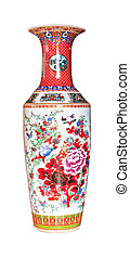 chinese antique vase isolated on the white background