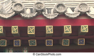 Chinese Architectural Detail - Roof and wall detail, White...