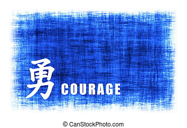 Chinese Art - Courage - Chinese Art for Courage on Blue...