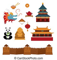 Chinese asian oriental decoration sightseeing festival gold ancient traditional culture vector illustration.