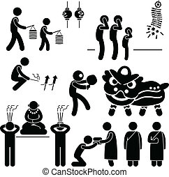 Chinese Asian Religion Tradition - A set of people pictogram...