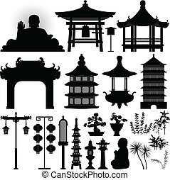 Chinese Asian Temple Shrine Relic - A set of Chinese temple...
