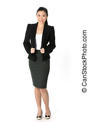 Chinese Asian woman in a business suit. - Full length...
