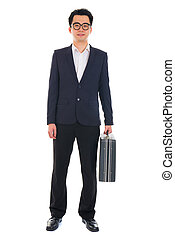 chinese asian young business man with suitcase isolated on white background