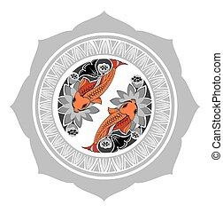 Chinese background with koi fish