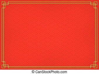 chinese background with yellow gold border