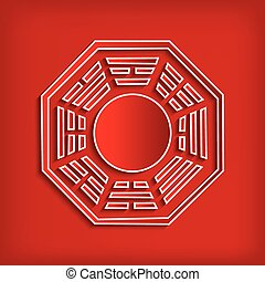 Chinese Bagua symbol on red