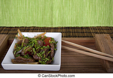 Chinese beef and vegetable dish - Chinese dish with beef and...