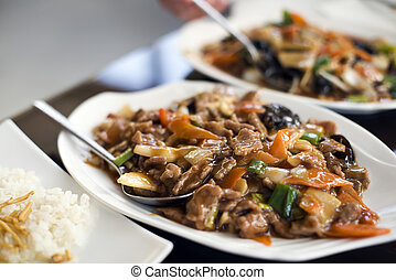 Chinese beef - Traditional chinese sweet and sour beef close...