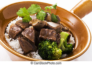 Chinese beef stew with rice,close up
