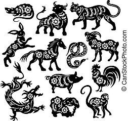 Chinese Black Zodiac Figures Of Sacred Animals