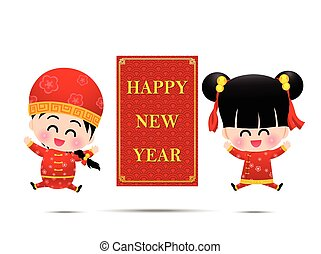 Chinese boy and chinese girl cartoon have smile and jumping with sign and word happy  new year for design and decoration on the white background vector illustration eps10