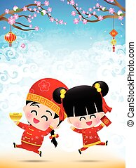 Chinese boy and chinese girl cartoon have smile and jumping with happy  for design and decoration on the white background vector illustration eps10