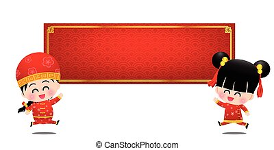 Chinese boy and girl cartoon have smile and jumping with red blank banner vector illustration eps10