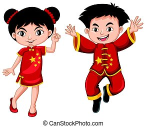 Chinese boy and girl in red costume illustration