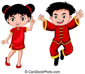 Chinese boy and girl in red dress