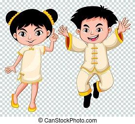 Chinese boy and girl in traditional costume
