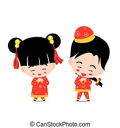 Chinese boy and girl  on the white background