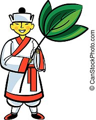 Chinese boy and tea leaf